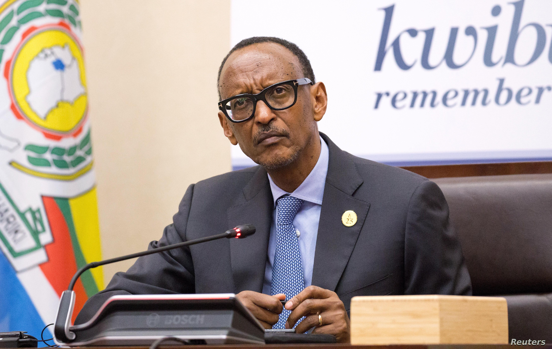 FILE - Rwanda's President Paul Kagame addresses a news conference in Kigali, Rwanda, April 8, 2019.